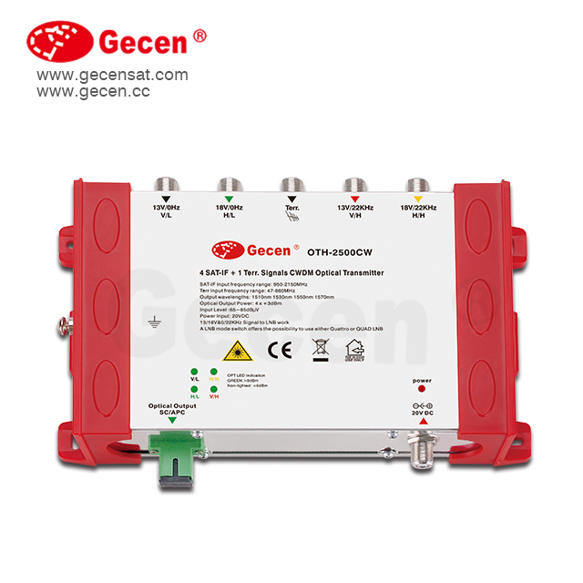Gecen FTTH QUAD Satellite Optical Transmitter Model OTH-2500CW