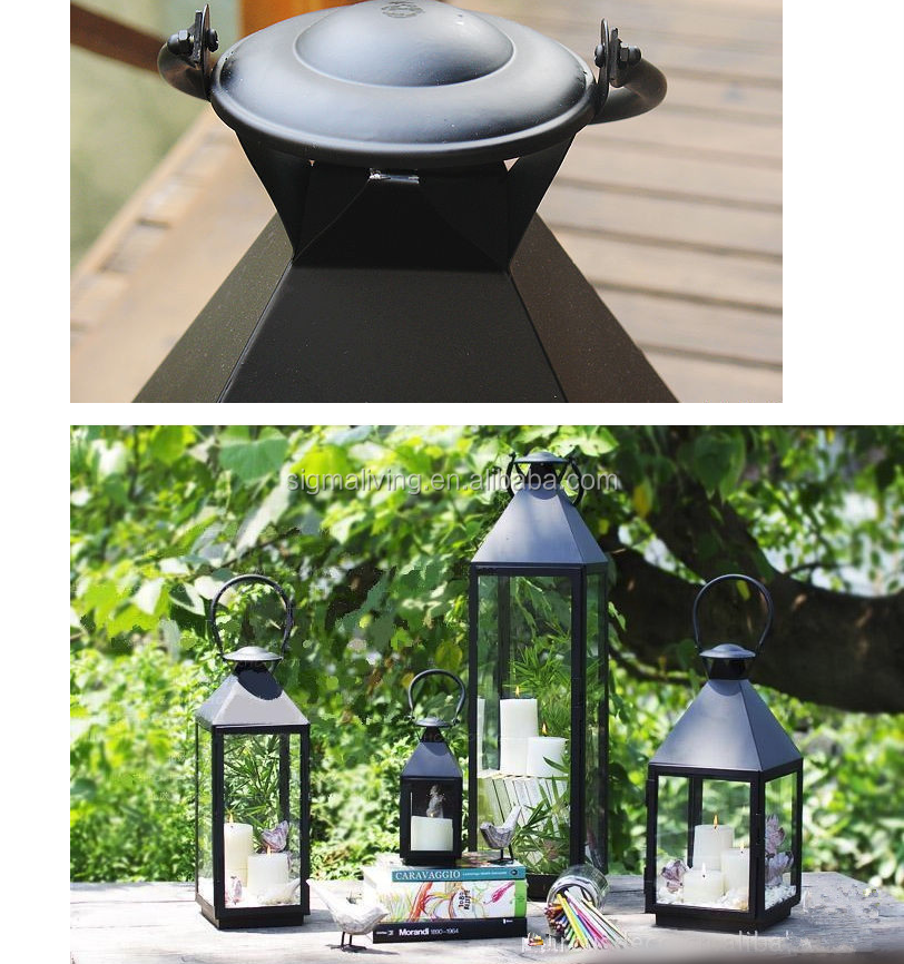 Factory direct sale  black classic simple wind lamp horse light large / large floor windproof candle holder / courtyard home