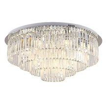 80CM round stainless steel crystal ceiling light chandelier with clear long crystal