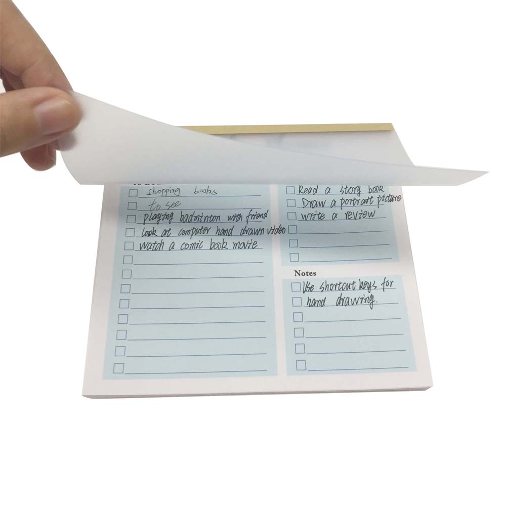 4 Design Custom Printed Sticky Notepad 50 Sheets To Do List Notepad With Clear PVC Cover