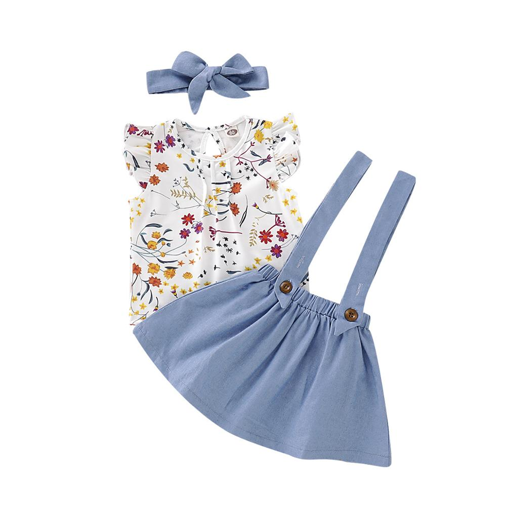 New Boutique summer toddler Girls clothing set cotton sleeveless flower top + solid overalls Clothing Sets