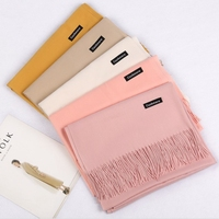New autumn and winter warm pure color imitations Pashmina fringe shawl cashmere scarf