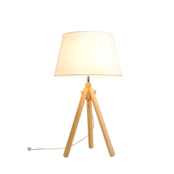 Online shop china Cute room decor lights tripod base white study led Wooden table lamp