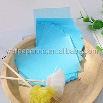 Colorful 9*6 cm facial oil blotting paper sheets with square  paper box