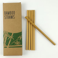 Wholesale eco friendly customized logo reusable natural organic bamboo fiber drinking straw