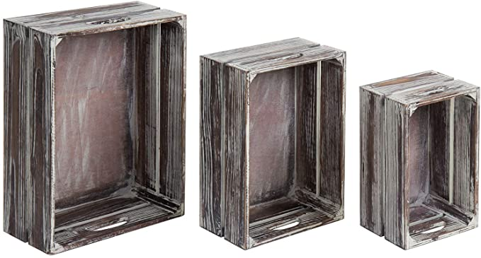 Country Rustic Brown Nursery Wooden Crate Tabletop Jewelry Storage Containers