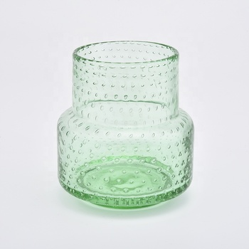 hot sale green colored glass candle containers