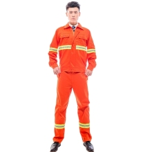 <strong>Orange</strong> Reflective Tape Construction Dustman Workwear Uniform