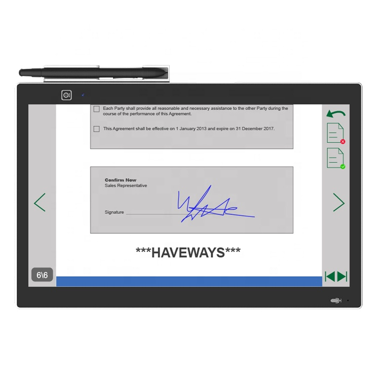 15.6 inch signature capture electronic signature pad