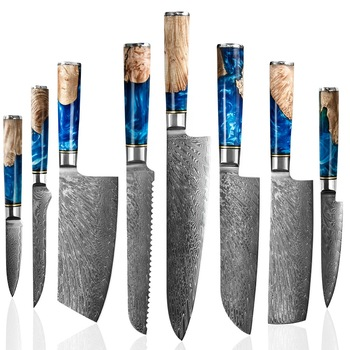 Luxury Blue Resin Handle Damascus Steel Knife Chef Cooking VG10 67Layers Carbon Steel Japanese Kitchen Knives Damascus Knife Set