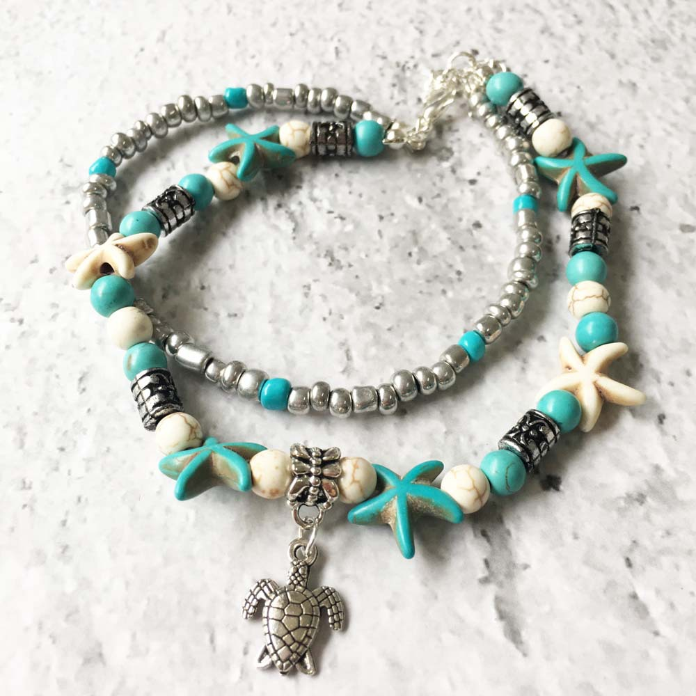 Ready To Ship Turtle Anklet Chain FREE Shipping Women Anklets With Animal Trims Turquoise Anklets <strong>A006</strong>