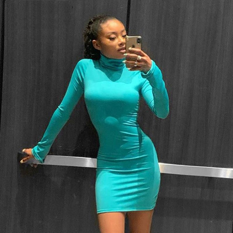 Neon Pink Bodycon Dress Women Long Sleeve Sexy Fashion Dresses Turtleneck Solid Slim 2019 Autumn Solid Mini Dress