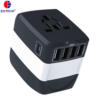 All-In-One International Travel Plug Adaptor 4 USB + type C Ports-Universal AC Outlet Universal Adapter 5.8A