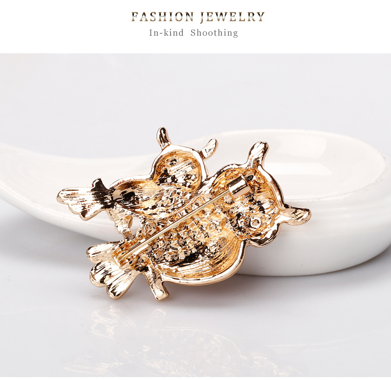 Exquisite Fashion Creative Diamond Red Color Crystal Owl Brooch Pin Cloth Decoration Jewelry