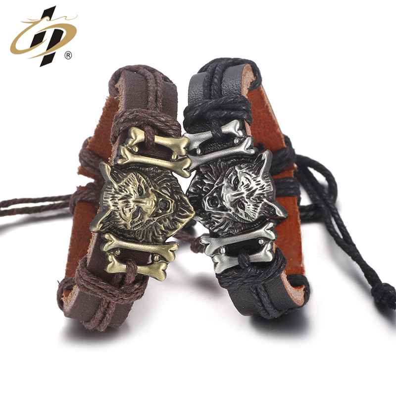 Wholesale cheap 3d wolf metal bracelets with leather strap