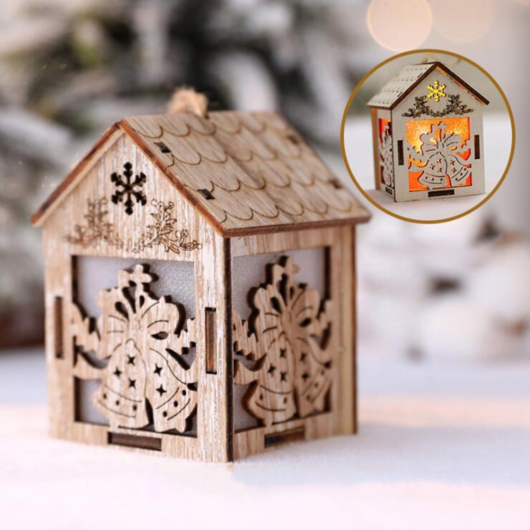 Seasonal Tabletop Noel Led lighted house Wooden craft Christmas <strong>decoration</strong>