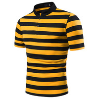 Wholesale Polo Men's 100%Mercerized Cotton Striped Rugby Polo Shirts