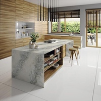 Fashion island counter top white calacatta quartz countertop for kitchen