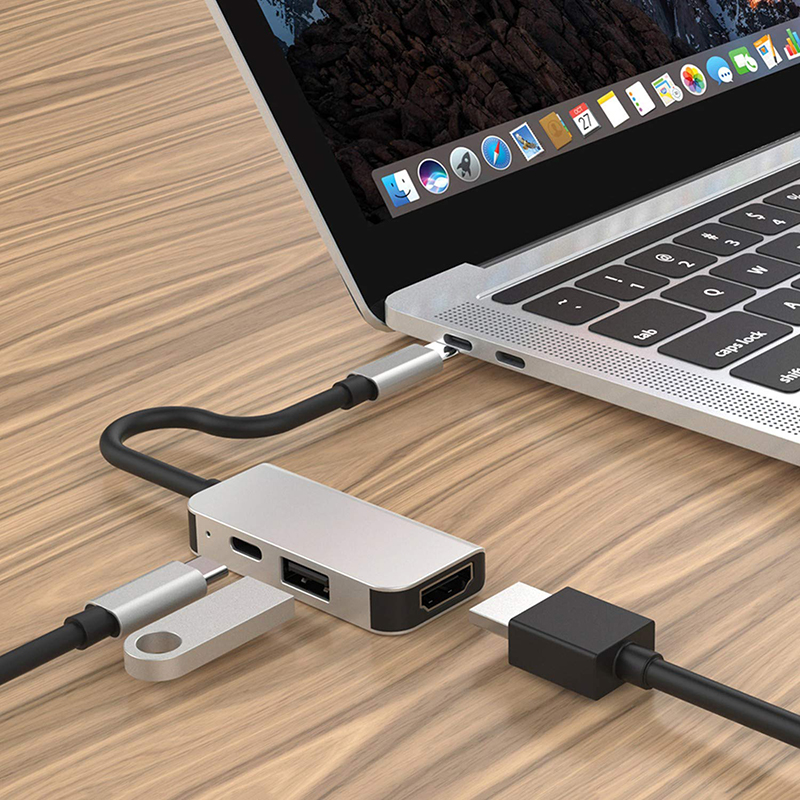 3 in 1 USB C Hub to USB 3.0 HDMI Type C Laptop Docking for Lenovo Yoga 5 Pro Macbook MatBook Dell XPS13 <strong>C101</strong>