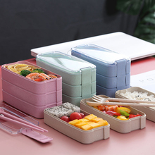 900ml Portable Eco Biodegradable Material Lunch Box 3 Layer Wheat Straw Bento Lunch Box