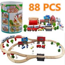 88 pcs Wooden Train Track Set Kids Wooden Railway Puzzle Slot Transit Tracks Rail Transit Train Railway Toys For Children's Gift