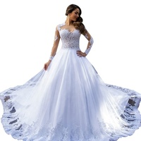 Hot Selling Sheer White Long Sleeve Wedding Dress Bridal Gown