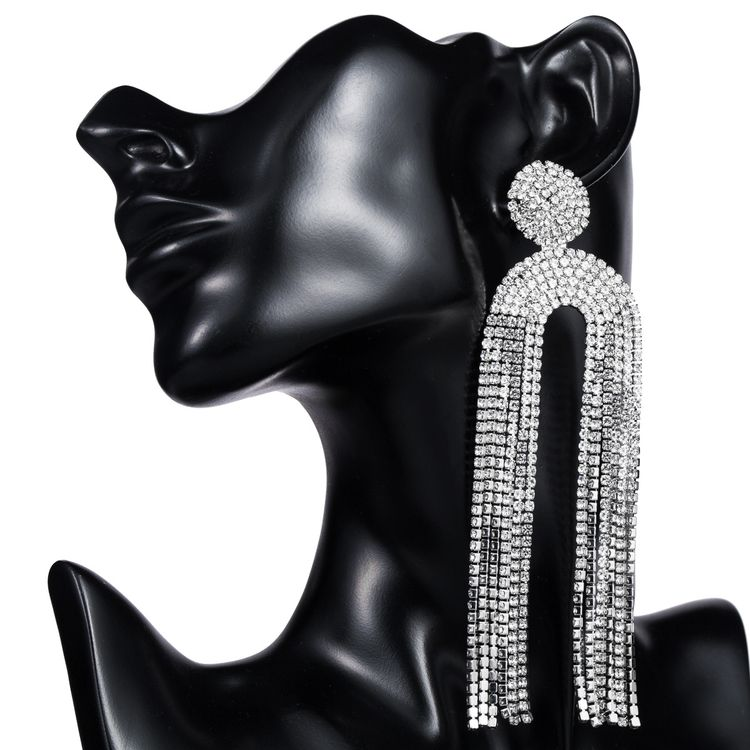 Fashion Women Exaggerated Geometric Diamond Rhinestone Encrusted Long Arch Tassel Earring