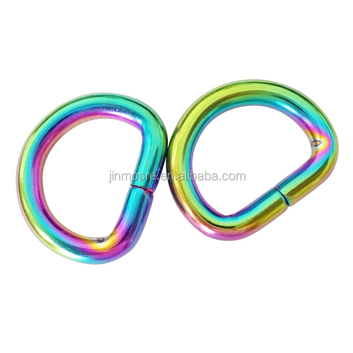 1/2 Inch Iridescent Rainbow Metal Bag <strong>D</strong> Ring Buckles For USA Market