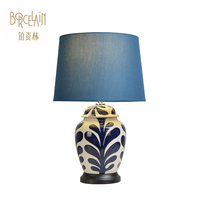 Electric bedroom lamps ceramic blue and white table lamp European