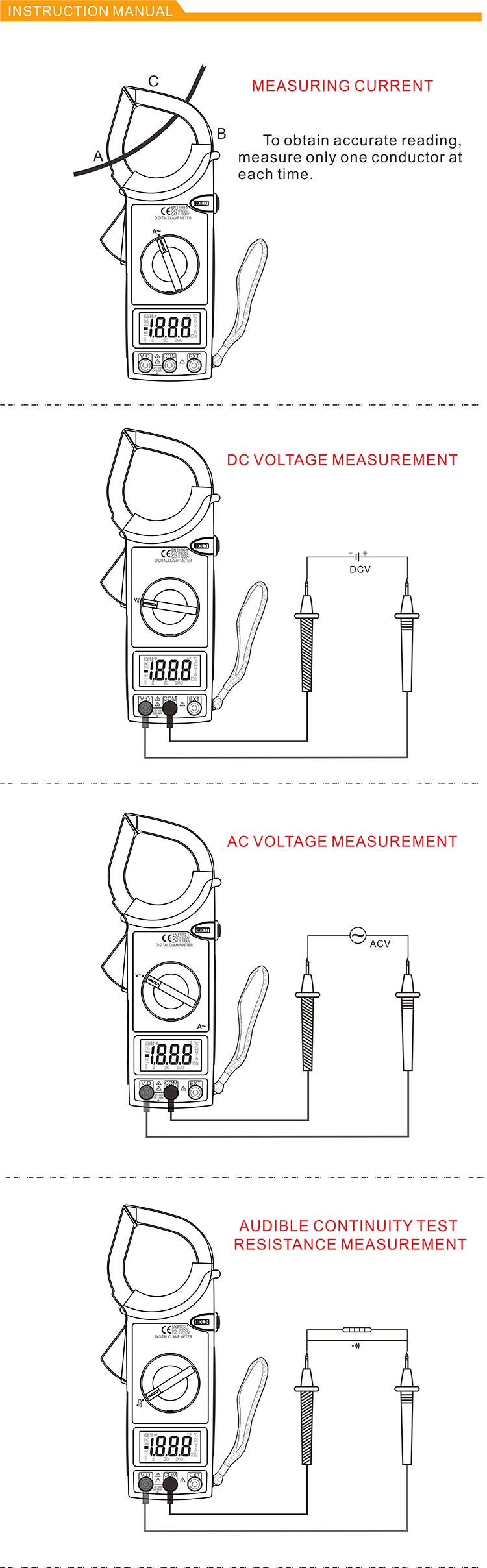 high voltage clamp meter DM6266 1000A measure AC current test full protection