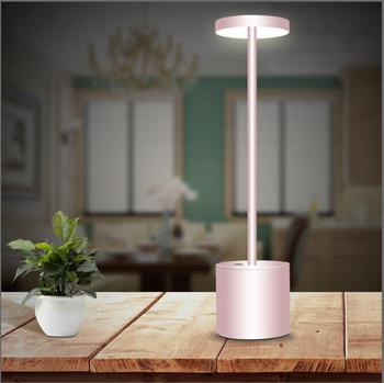Modern Hotel Style Energy Saving Table lamp Aluminium USB Rechargeable Battery LED Cordless Restaurant Table Lamp For Dinner