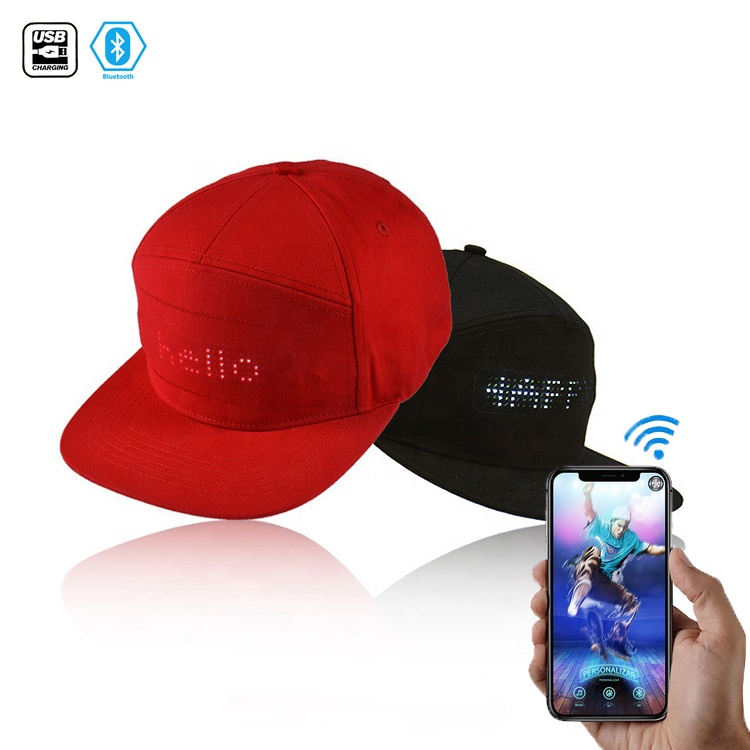 programmable Glowing screen scrolling hat bluetooth USB rechargeable led <strong>cap</strong> with message gorras for Party
