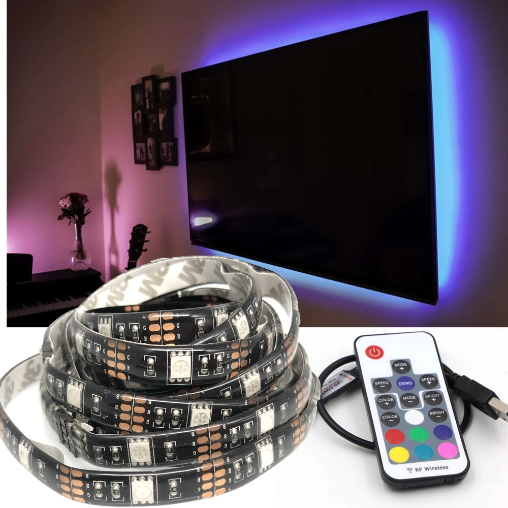 DC 5V USB LED Strip Lights <strong>RGB</strong> 5050 TV Bias Background Lighting with 17 Keys RF Wireless Remote Controller Waterproof 1M
