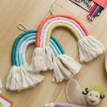 New launching macrame art children home decoration cotton rope hand made rainbow <strong>wall</strong> hanging