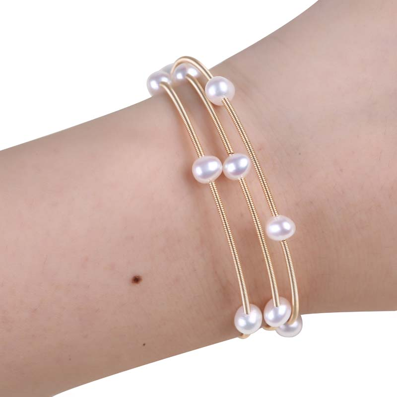 New fashion freshwater pearl bangles bracelet for women