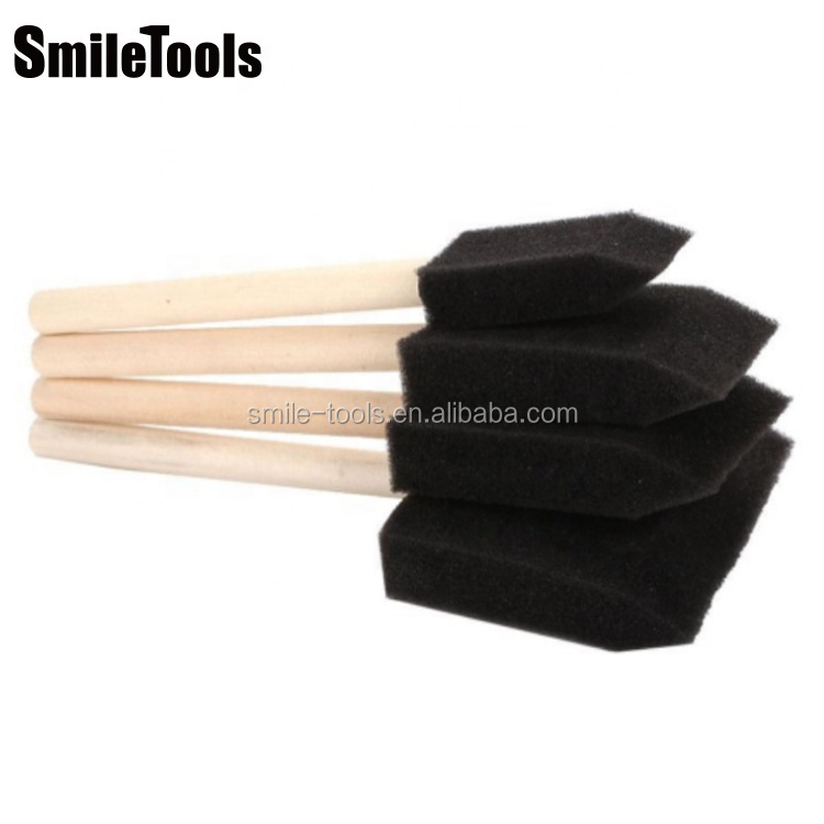 "Different Size 1""-4"" Wood Handle Sponge Foam Brushes Sponge Paint Brush Foam Painting Brush For Stains Varnishes Crafts Art DIY"