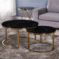 modern living room home furniture black tempered glass round coffee table side set nesting table