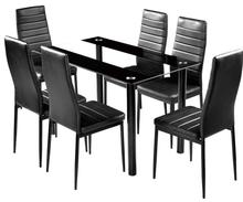 Dining Room Table Set, Glass Kitchen Table and Leather Chairs Kitchen <strong>Furniture</strong>