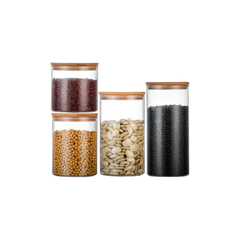 <strong>D120</strong> 1350ml High borosilicate glass jar food storage bottles with bamboo lid