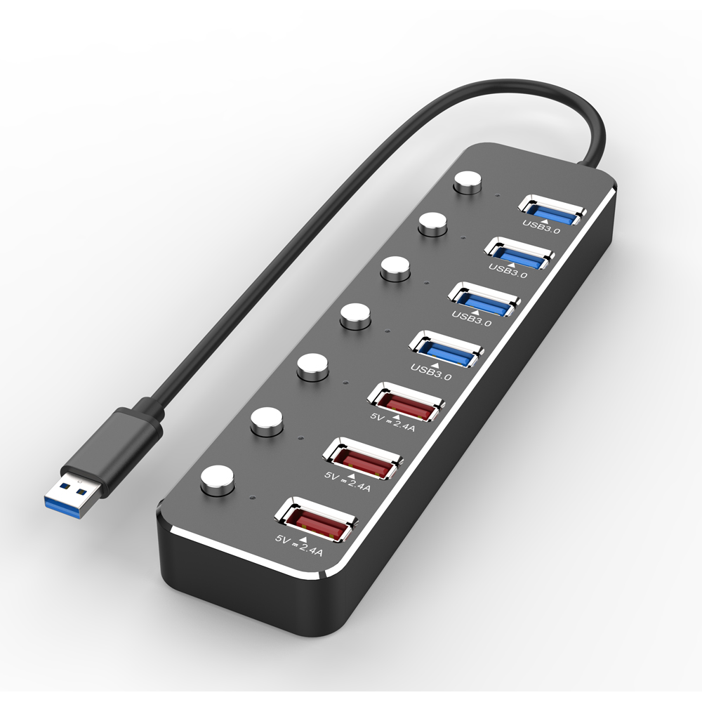 2019 new multiport type <strong>c</strong> hub usb for laptop docking station 7 port 4*usb 3.<strong>0</strong>+3 fast charging with individual switch