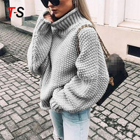 Hot style fashion turtleneck batwing-sleeve sweater with rolled edges for ladies