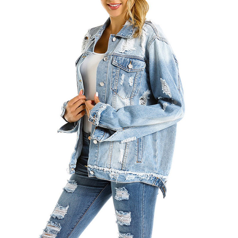 New Design Ladies Denim Jacket Women Coat Casual Ripped <strong>Holes</strong> Women Jean Jackets Plus Size
