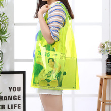 Custom Logo Printing Pvc Transparent <strong>Tote</strong> Clear Shopping Bags With Handles