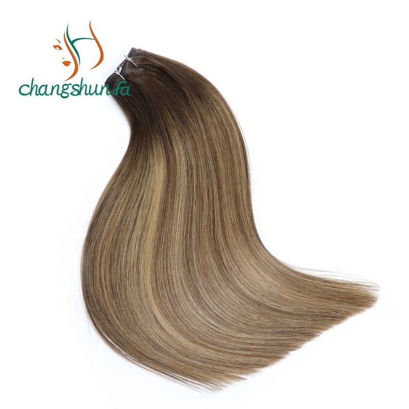 High Quality Double Drawn Balayage Real Russian Remy <strong>Human</strong> Sew in Weave Double Weft Hair Extensions