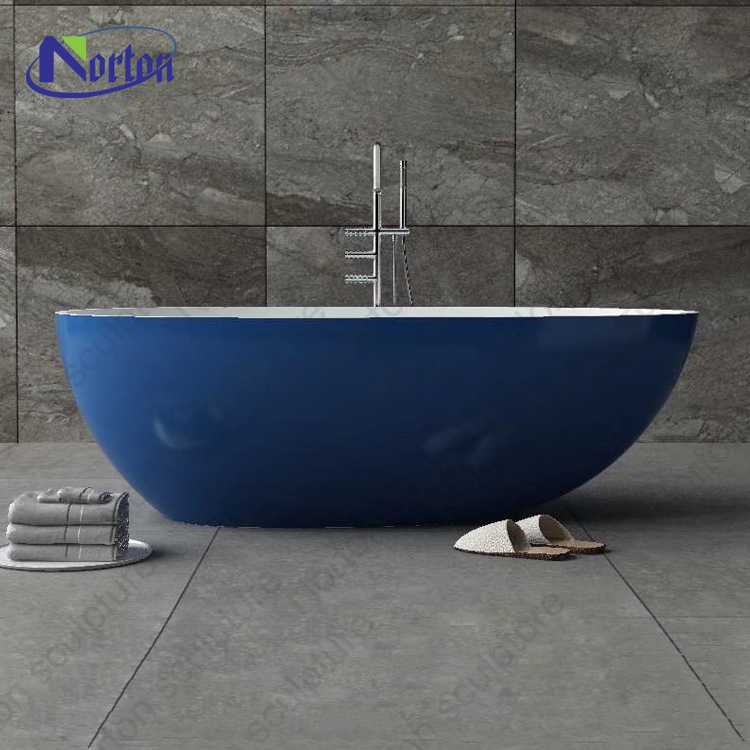 Bathroom design support customization hotel use blue color artificial stone bathtub with center drain