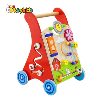 2020 New design multi push along wooden baby walking toys W16E061