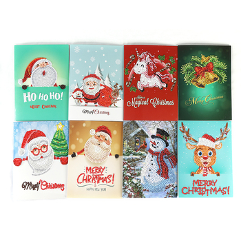 New design Christmas cards 5d DIY round diamond painting handmade holiday greeting decoration gift card