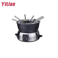 Chinese Make Removable Small Pot 6-Person Electric Stainless Steel Swiss Fondue Set