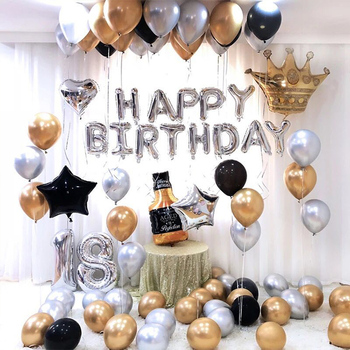 Happy Birthday Balloons Party Decorations -Gold Birthday Decorations Set with Happy Birthday Banner Foil Letter Balloons