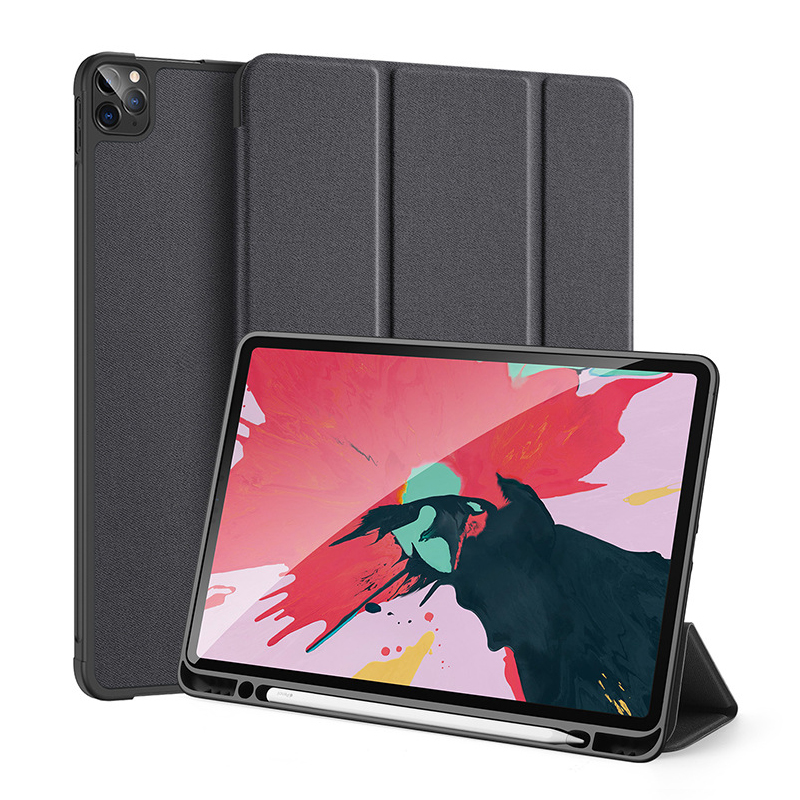 2020 new arrival trifold stand auto-wake/sleep pu tpu flip smart cover kickstand case for <strong>ipad</strong> pro